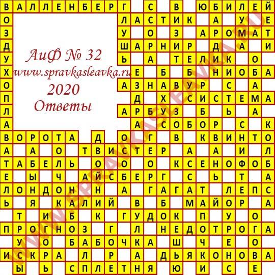 Ответы на кроссворд АиФ номер 32 2020