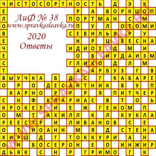 Ответы на кроссворд АиФ номер 38 2020