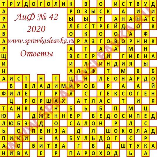 Ответы на кроссворд АиФ номер 45 2020