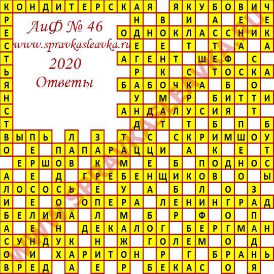 Ответы на кроссворд АиФ номер 46 2020