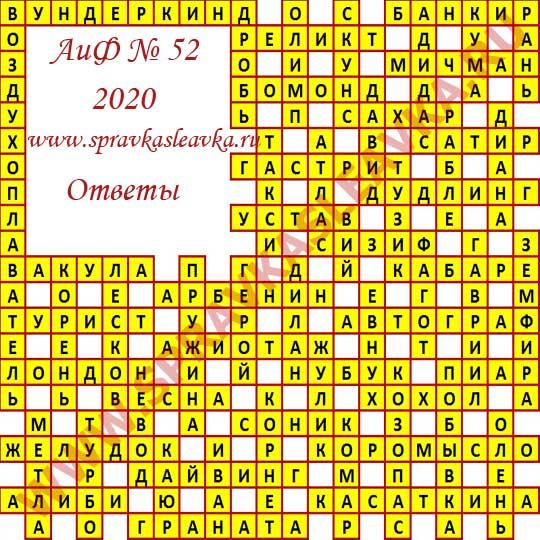 Ответы на кроссворд АиФ номер 52 2020