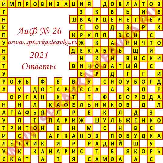 Ответы на кроссворд АиФ номер 26 2021