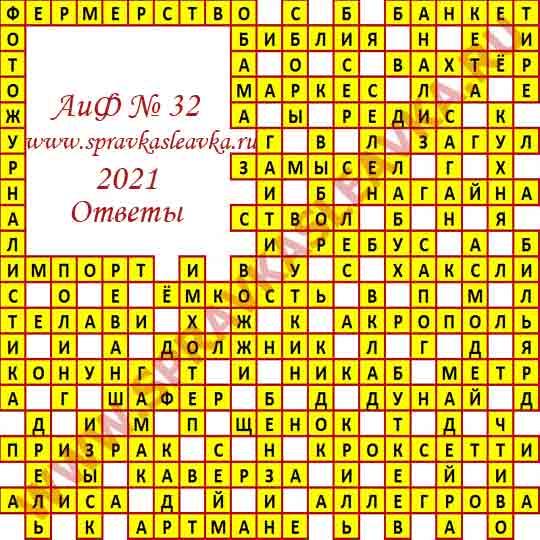 Ответы на кроссворд АиФ номер 32 2021