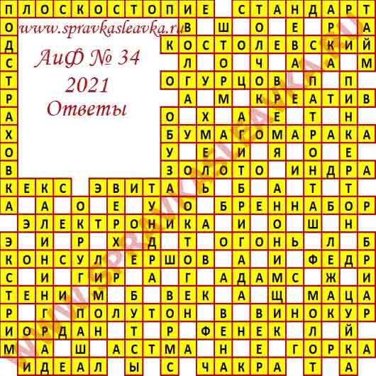 Ответы на кроссворд АиФ номер 34 2021