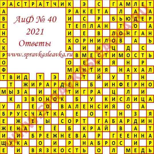 Ответы на кроссворд АиФ номер 40 2021